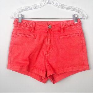 Kendall & Kylie | Orange Braided Belt Shorts